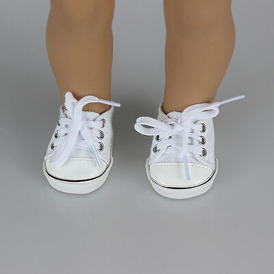 Handmade Canvas White Shoes for 18inch Girl Doll Cute Baby Kids Toy Pop
