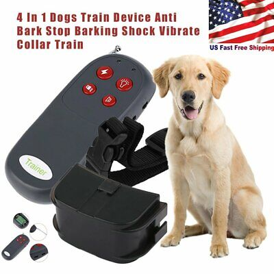 4 In 1 Remote Small/Med Dog Training Shock Vibrate Collar Trainer Safe Pet Cat H