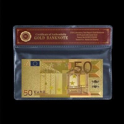 WR Europe €50 Euros Note GOLD Foil World Banknote Paper Money Collection /w COA