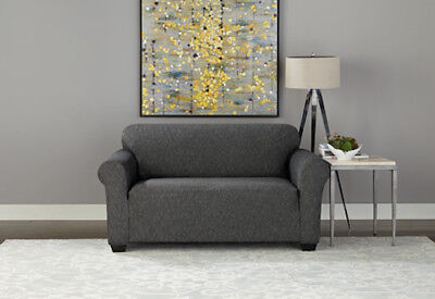 Cool Sure Fit Stretch Denim Loveseat Slipcover In Black For A Box Uwap Interior Chair Design Uwaporg