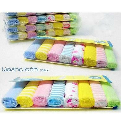 8xBaby Infants Comfort Face Washers Hand Towels Cotton Wipe Wash Cloth Gift