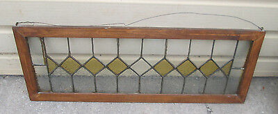 56956 Antique Leaded Glass Stained Glass Window in Wood Frame circa 1910