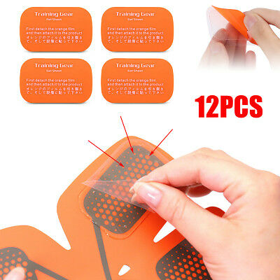 12pcs EMS Replacement Gel Sheet Pad Muscle Training Gear ABS Body Fitness Gym
