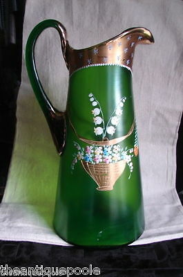 Victorian GREEN Blown Art Glass Pitcher Enameled Colorful Flowers Gold Baskets