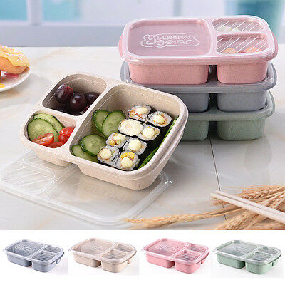 US Microwave Bento Boxes Lunch Picnic Fruit Food Container Kitchen Storage Box