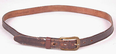 Vtg PARIS-Dark Brown-Distressed-Leather Belt-32-Selected Cowhide-163H 2
