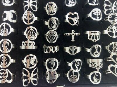 NEW 10pcs TOP mix of women charm rings Stainless Steel Party Jewerly Gift Favor