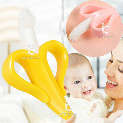 Soft Toothbrush Training Teething Banana Brush for Baby Kids Toddler Teether New