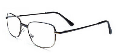 Mens Metal Spring Hinge Rectangle Reading Glasses 1.0 1.5 2.0 2.5 3.0 3.5