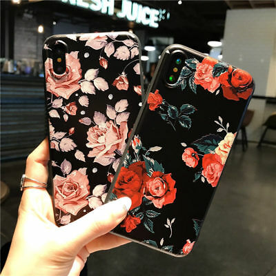 For iPhone XS Max XR X 8 7 Plus Cute Floral Pattern Soft TPU Silicone Case Cover