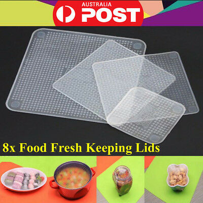 8pcs Reusable Food Fresh Keeping Silicone Stretch Lids Wrap Seal Vacuum Cover AU