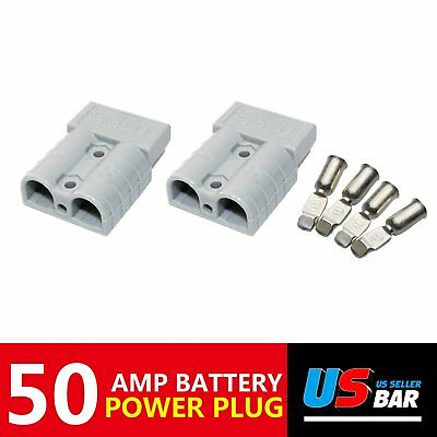 50A Pair Plug Mounting Grey Fit Fast Disconnect Battery Connector Kit Forklifts