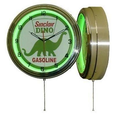 "15"" Sinclair Dino Green Neon Gas Station Retro Man Cave Game Room Wall Clock NEW"