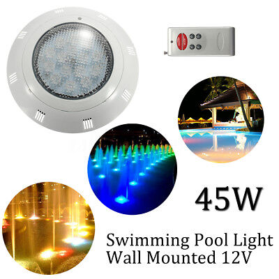 45W RGB LED Remote Control Swimming Pool Light Wall Mounted Underwater Light 12V