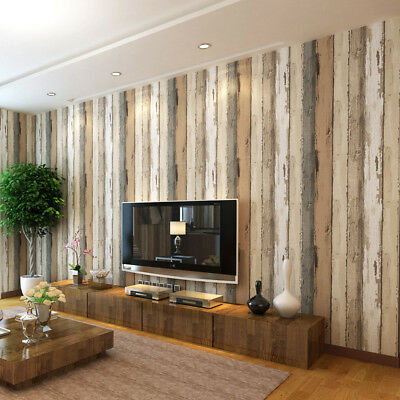 Realistic Wood Optic Panelling Timber Plank Wood Panel Stripe Wallpaper Luxuly