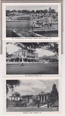 Stamp 2&1/2 KGV1 on postcard Geelong Victoria 12 view fold out type George Rose