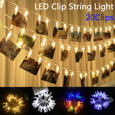 2.2m 20 LEDs Hanging Picture Photo Battery USB Peg Clip Fairy String Lights Xmas
