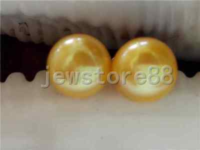 Genuine yellow 7-8MM freshwater pearl Earring 925 Sterling silver Stud