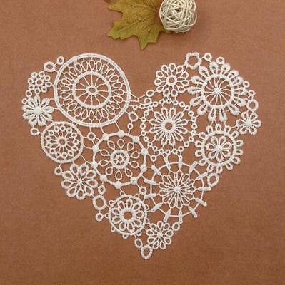 2pcs Milk silk Embroidered Heart-shape Lace Collar Applique Clothing Accessories