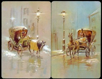 Vintage Swap Card Pair Horse Carriages With Street Lamps (New)