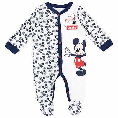 Baby Mickey Mouse Sleepsuit | Disney Mickey Pyjamas| Baby Boys Mickey Bodysuit