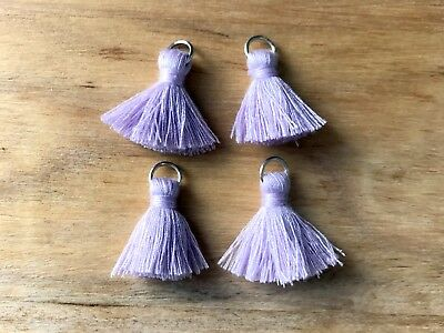 4 x Cotton Tassels 20mm 2cm Long - LILAC - great for earrings & accessories
