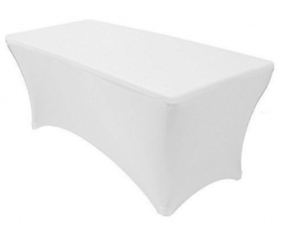 Tina 4 ft. Rectangular Banquet Table Cover Spandex Fitted Stretch Tablecloth Whi