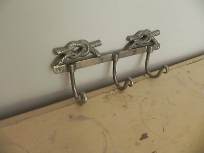 Vintage French Metal Wall Coat Hooks Industrial Nautical Knot