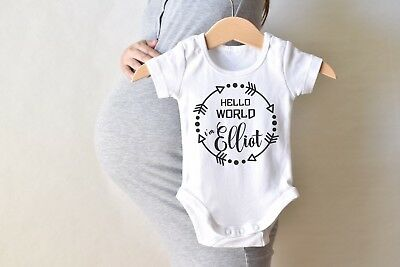 Personalized Hello World I'm Add Name Baby Shower Idea Boy Girl Toddler Clothes