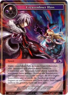Force of Will TCG Karte #RDE-092 Grenzenloser Hass