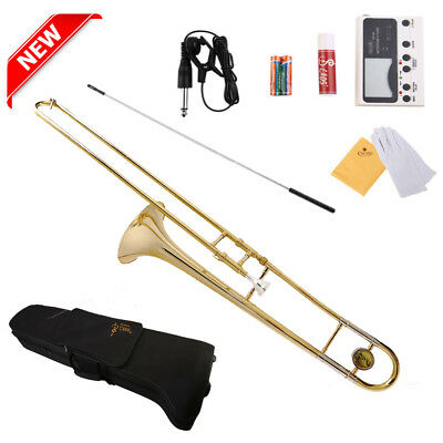 NEWEST! GOLD BAND STUDENT Bb SLIDE TROMBONE with Case and Mouthpiece US Stock BG