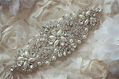 TRLYC White And Ivory Ribbon Rhinestone Crystal Applique Bridal Sash