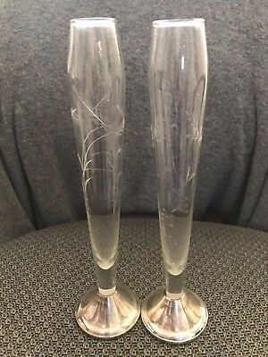 Vintage Lot of 2 Sterling Silver and Glass Fluted Rose Bud Vases Duchin Nice !