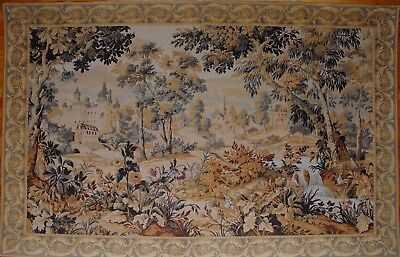 """Huge Antique / vintage French Wall Hanging Tapestry Verdure  86"""" x 59"""""""