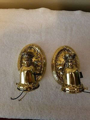 Matched Pair Brass Wall Sconce Fixtures Antique Vintage polish and lacquered