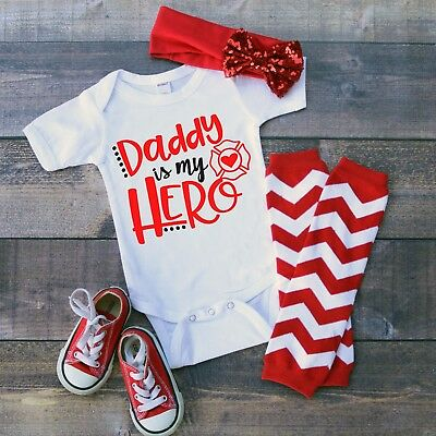 Daddy Is My Hero Fireman Baby Shower Idea Boy Girl Toddler Clothes Romper
