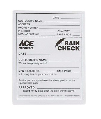 Centurion Ace Rain Check 4-1/4 In. X 5-1/2 In. 500 Pack