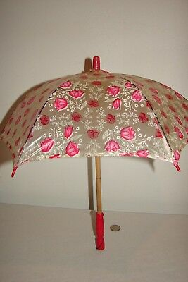 Vintage Petite Small Child Parasol Umbrella Pink Red Floral Made in Japan