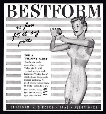 Bestform lingerie vintage print ad 1948 - for a willowy waist