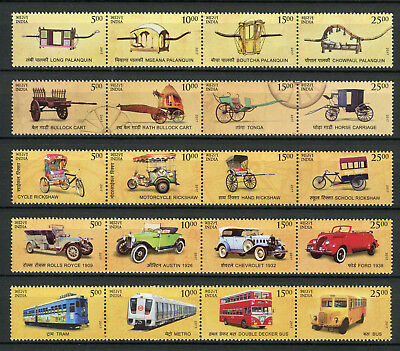 India 2017 MNH Transport Through Ages 20v Set Trams Cars Buses Trains Stamps