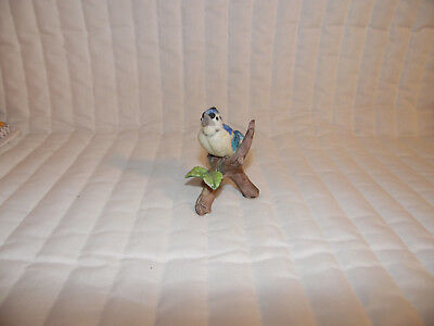 Estate Find Ceramic Singing Blue Jay Figurine 3 Inches Tall