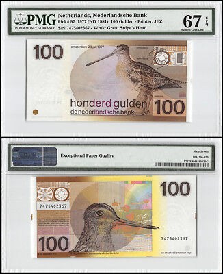 Netherlands 100 Gulden, 1977, ND 1981, P-97, Great Snipe's Head, PMG 67