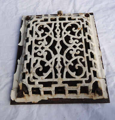 Antique Cast Iron Raised Victorian Scroll Design Floor Grate Heat Register