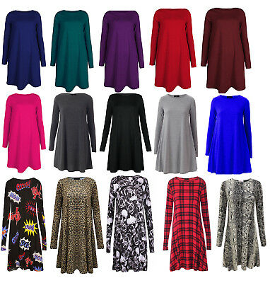 Girls Swing Dress Long Sleeve Skater Top Kids Plain Printed 3-13 Years Christmas