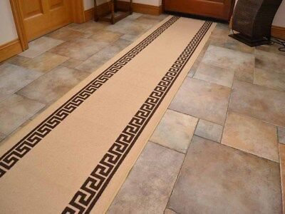Beige Brown Non-Slip Rubber Backed Hall Runners Extra Long Narrow Rug Mat Carpet