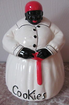Black Americana Aunt Jemima Cookie Jar - signed McCoy - White w/ Red Tassle