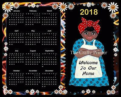 """2018 CALENDAR MAGNET  -  Black Americana Mammy - """"Welcome To Our Home"""""""