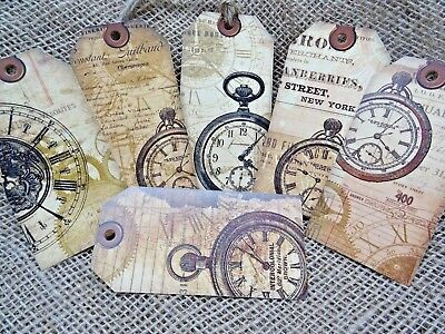 Set of 6 Large Vintage Style Clock & Watch Gift Tags and Jute Twine