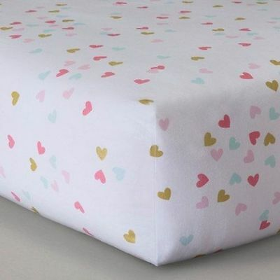 Circo Sweet Kitty Fitted Crib Sheet Multi Color Hearts Girls New No Package Htf