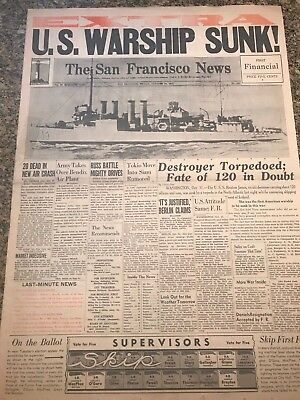 United States about to enter WWII......U.S. WARSHIP SUNK!  BOLD HEADLINE BANNER